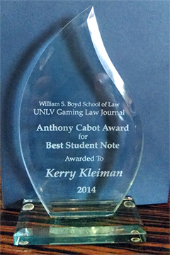 Anthony Cabot Award for Best Student Note