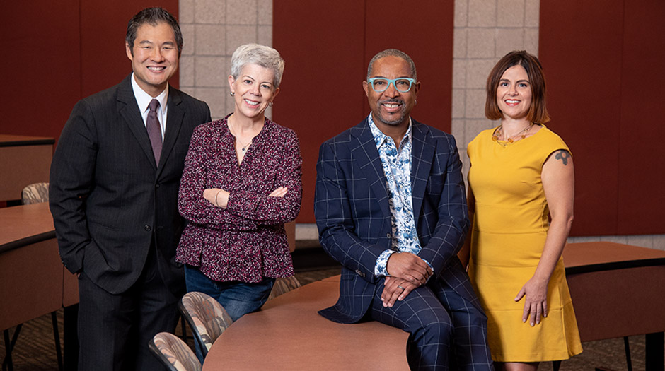 From left: UNLV William S. Boyd School of Law Professors Stewart Chang, Elizabeth MacDowell, Frank Rudy Cooper, and Addie Rolnick head up the school's Race, Gender & Policing Program.