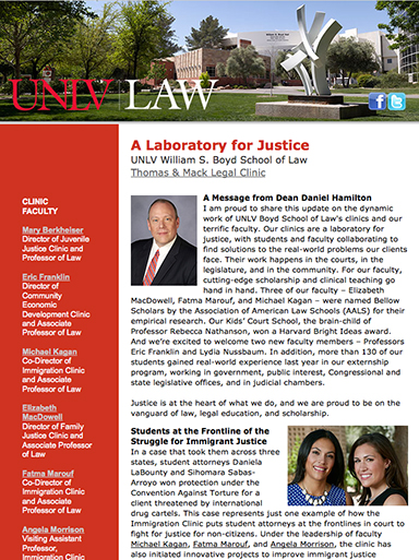 Thomas & Mack Legal Clinic Update Fall 2013